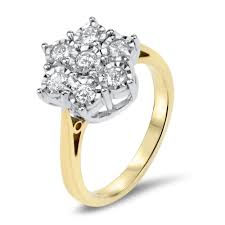 gold engagement rings uk 9ct gold 1 4 carat diamond floral cluster ring engagement rings