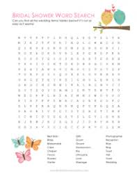 wedding words for bingo printable bridal shower word search bridal shower