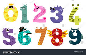 set cartoon numbers flat style design stock vector 587194736