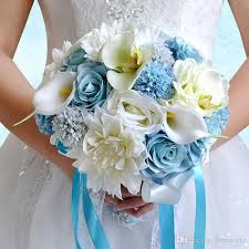 light blue and cream colorful bridal wedding bouquet 2016 new