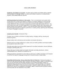 Cleaning Job Description For Resume by Daycare Sample Resume Resume For Your Job Application