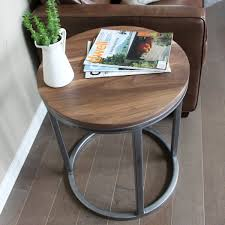 round wood and metal end table round steel framed reclaimed wood end table two tier bi level