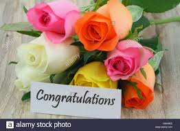 Colorful Roses Congratulations Note With Colorful Roses Bouquet On Wooden Surface