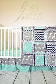 giraffe crib bedding mint navy blue gray u2013 a vision to remember