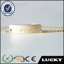 Baby Name Bracelets Gold Engraved Baby Name Gold Plated Chain Jewelry Charm Baby Bracelet