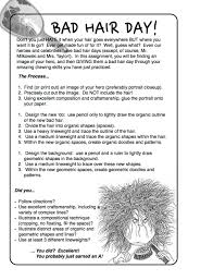 project art a day lesson bad hair day line and shape