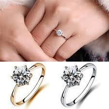 finger gold rings images Women simulated diamond wedding rings crystal finger rings gold jpg