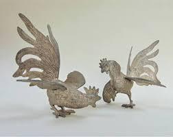 vintage metal fighting roosters etsy