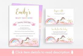 Baby Shower Invitations Bring A Book Instead Of Card Unicorn Baby Shower Printable Pack Unicorn Baby Shower Invitation