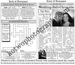 newspaper wedding programs wedding program newspaper template crossword puzzle new