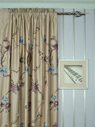Faux Silk Embroidered Curtains 120 Inch Wide Light Apricot Embroidered Branch Faux