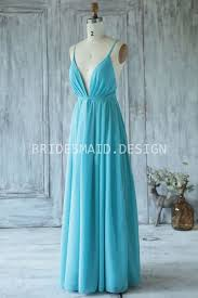 deep v neck u0026 simple pool chiffon spaghetti strap bridesmaid