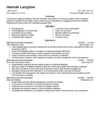 Resume For Caregiver Job by Best Wellness Activities Assistant Resume Example Livecareer