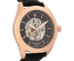 rose gold maserati maserati men u0027s 45mm leather traguardo watch rose gold black ebay