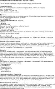 Career Overview Resume Resume Career Objective In Electronics Technician U2013 Job Resume Example