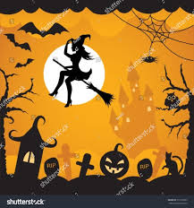 halloween background cat and pumpkin cartoon background on halloween flying pumpkins stock vector