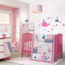 Nursery Bed Set Nautical Baby Pink Patchwork Nursery Whales Fish 4 Pc Crib