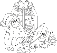 Coloriage le père Noël devant son ordinateur  Doryfr coloriages