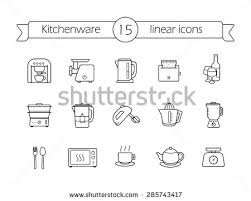 kitchenware silhouette icons set kitchen equipment stock vector