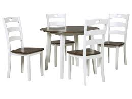 round drop leaf table set signature design by ashley woodanville 5 piece round drop leaf table