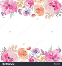 Borders For Wedding Invitation Cards Stock Photo Colorful Watercolor Flower Border Painted Flower