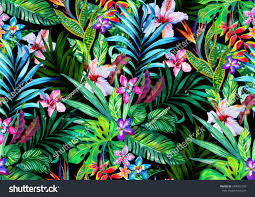 amazing seamless tropical pattern exotic hibiscus stock