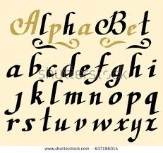 hand lettering alphabet design handwritten brush stock vector