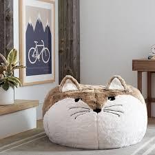 fox faux fur critter beanbag pbteen