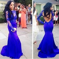 2015 mermaid royal blue applique prom dresses with long sleeve
