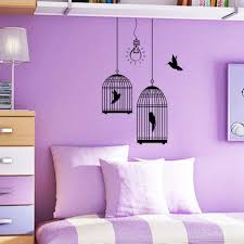 bedroom beautiful purple white wall with flowers paint combined