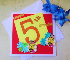 funny handmade happy 5th birthday card kids birthday card happy