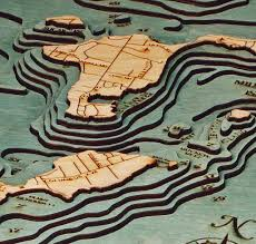 Put In Bay Ohio Map by Bass Islands Put In Bay Ohio Nautical Wood Chart Wood Map