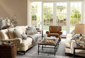 Pottery Barn Rugs Decorating Pottery Barn Living Room With Brown Leather Ottoman On