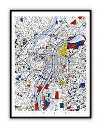 Lyon France Map Lyon Map Art Lyon France Wall Art Print Poster Modern