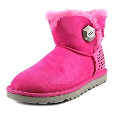 ugg womens boots pink amazon com ugg womens mini bailey button geo perf shoes