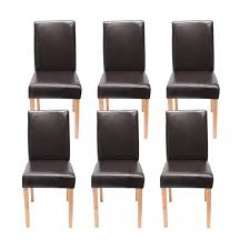 lot de 6 chaises salle à manger lot de 6 chaises de salle à manger simili cuir marron pieds clairs