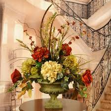 Home Decor Flower Arrangements Peony And Hydrangea Silk Flower Arrangement With Feathers Silk