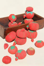 red tomato pincushions vintage pin cushion collection in