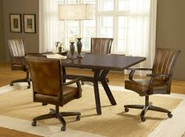 Modern Leather Dining Room Chairs Modern Brown Leather Dining Chairs With Wooden Armrests Of