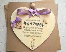 congratulations on new card new puppy card etsy