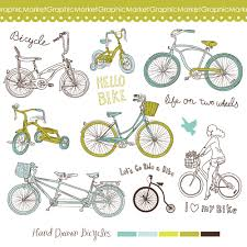 14 bicycles clip art digital scrapbooking hand drawn