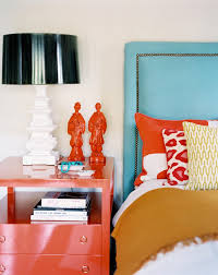 split complementary color scheme bedroom eclectic with table lamp