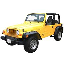 jeep rubicon yellow 97 06 jeep wrangler tj rivet style fender flares