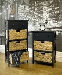 Oak Storage Cabinet Black Wooden 3 Wicker 2 Drawer Storage Unit Wooden Storage Cabinet