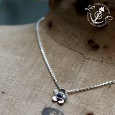 sterling silver flower necklace images Blue sapphire september birthstone flower necklace handmade in jpg