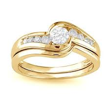 yellow gold wedding ring sets 0 5 carat cut wedding ring set in yellow gold