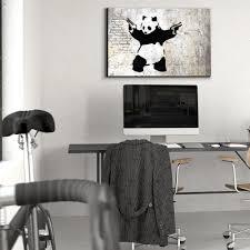 banksy home decor stick u0027em up panda bear with handguns street art guerilla spray