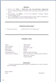 Resume For Iti Electrician Resume Format For Iti Fitter Resume Format