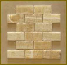Honey Onyx X Brick Pattern Polished Mosaics Meshed On  X - Onyx backsplash
