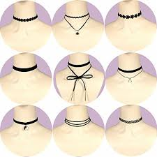 tattoo chokers necklace images Outee 9 pcs women choker necklaces black velvet stretch tattoo jpg